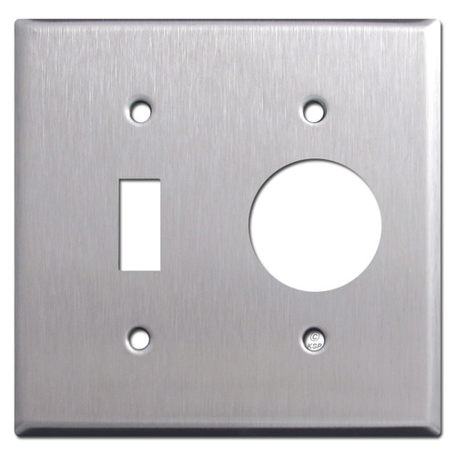 Single Toggle Single Round Receptacle Wallplate - Stainless Steel