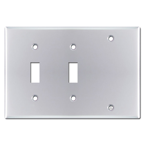 Double Toggle Blank Plate Covers - Polished Chrome