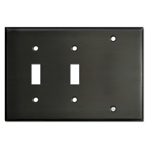 Two Toggle One Blank Switchplate - Dark Bronze