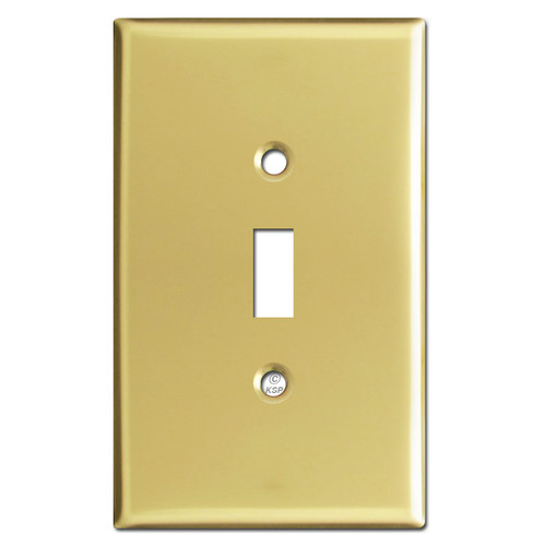 Oversized One Toggle Switch Plate - Polished Brass