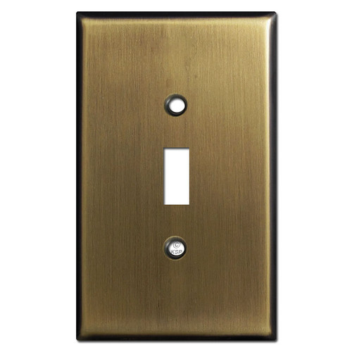 Oversized Single Toggle Wall Plates - Antique Brass