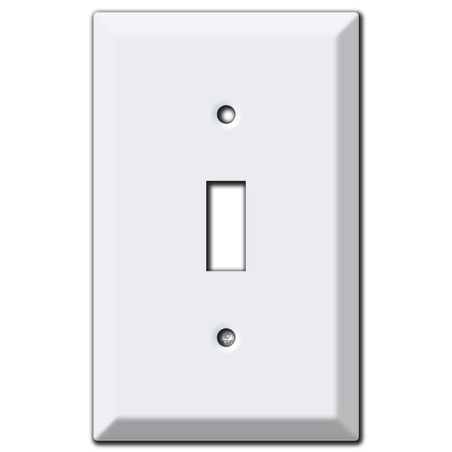 Raised 1 Toggle Switch Plate - White