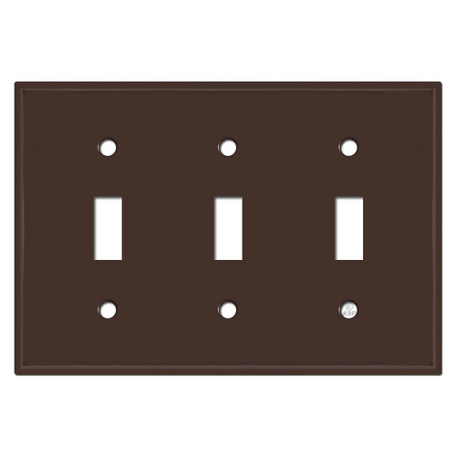 3 Toggle Light Switch Plates - Brown