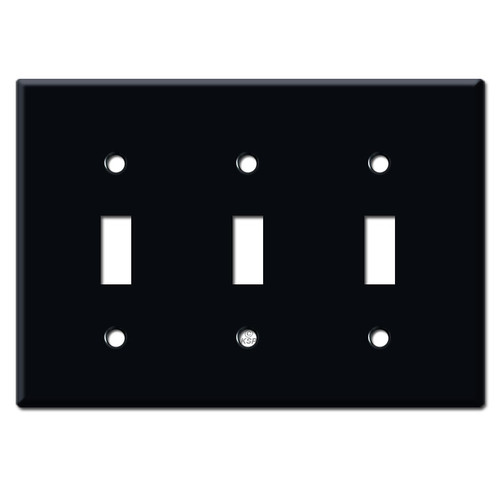 3-Gang Toggle Switch Plate - Black