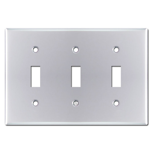 Triple Toggle Switch Plate Cover - Polished Chrome