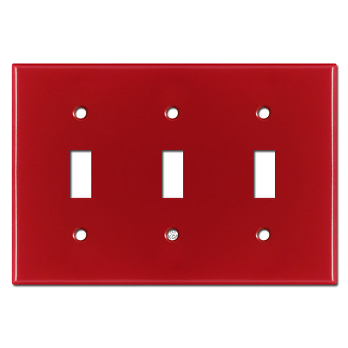 Triple Toggle Switch Plate - Red