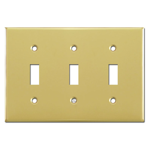 Triple Toggle Switch Cover - Polished Brass