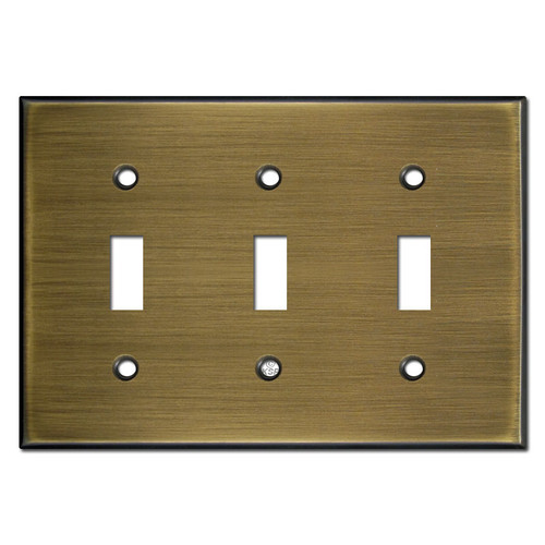 Triple Toggle Wall Switch Plate - Antique Brass