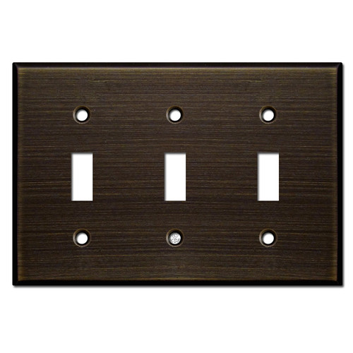 Three Toggle Switch Plate - Oil Rubbed Bronze