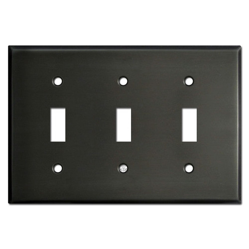 Three Toggle Light Switch Covers - Dark Bronze