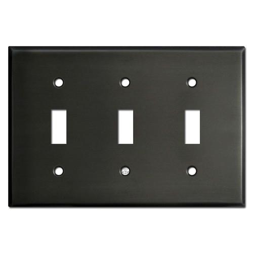 Three Toggle Light Switch Covers - Dark Bronze