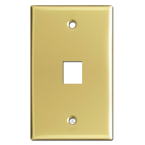 1 Telephone Jack Plate Covers - Polished Brass