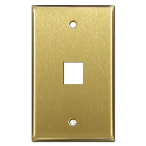 1 Telephone Jack Wall Cover Plate - Satin Brass