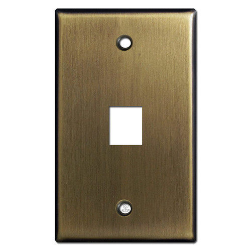 One Phone Jack Switchplates - Antique Brass