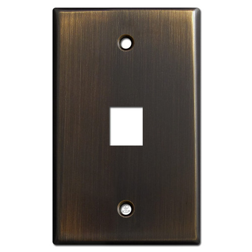 One Phone Jack Cover Plate - Oil Rubbed Bronze