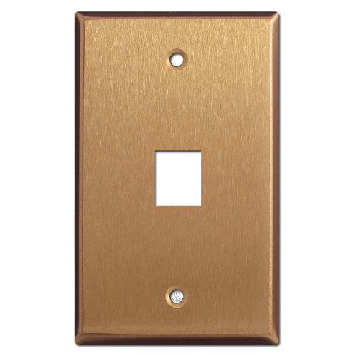 One Telephone Jack Faceplate - Satin Bronze
