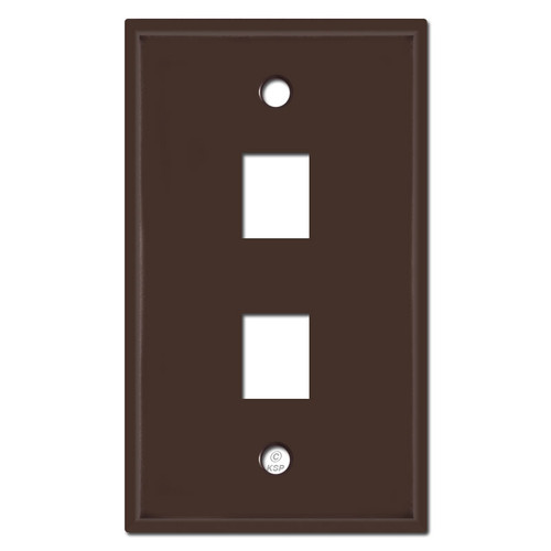 2 Phone Jack Cover Plates - Brown