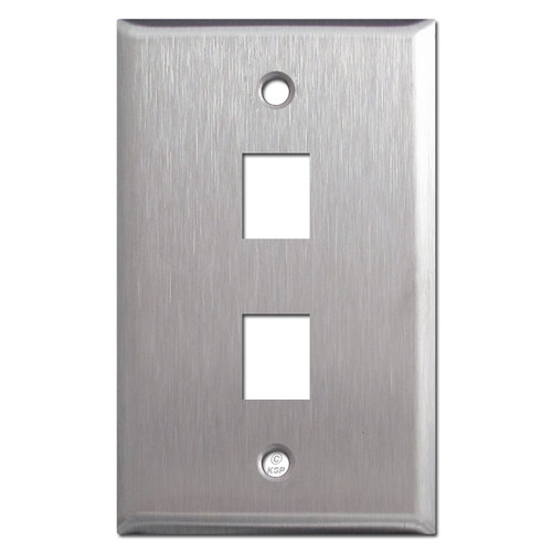 2 Telephone Jack Switchplates - Spec Grade Stainless Steel