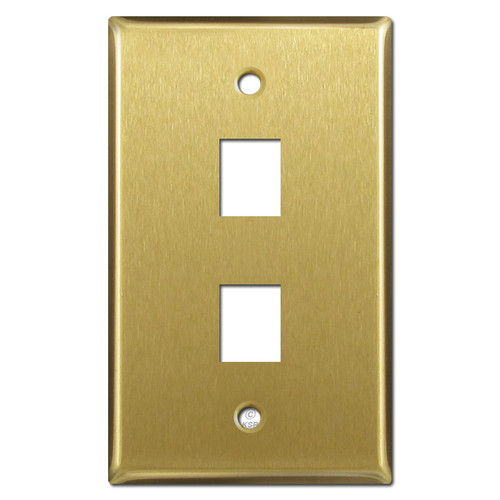 Double Phone Jack Wallplate - Satin Brass
