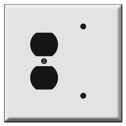 Jumbo Combo Duplex Outlet and Blank Switch Plate Cover