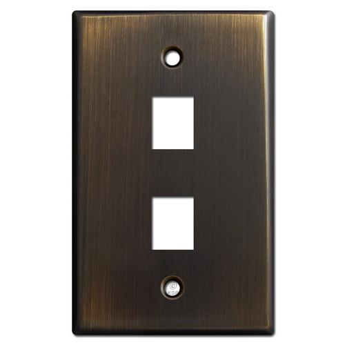 Two Telephone Jack Wall Cover Plates - Oil Rubbed Bronze