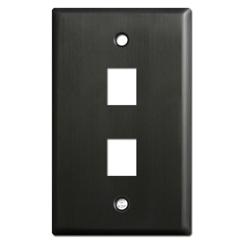 Two Telephone Jack Switch Plates - Dark Bronze