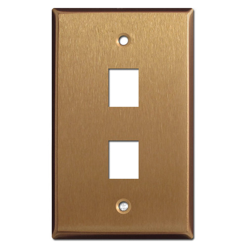 Two Phone Jack Switch Plate Covers - Satin Bronze