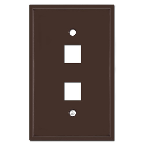Oversized 2 Phone Jack Wall Plates - Brown