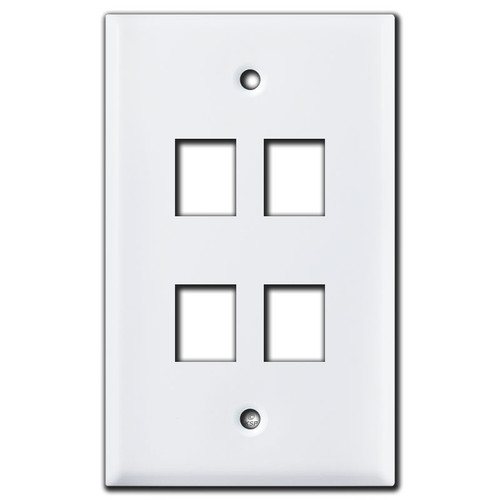 4 Phone Jack Switch Plate - White