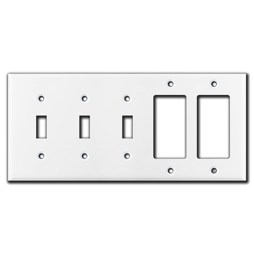 3 Toggle 2 Decora Switch Plates - White