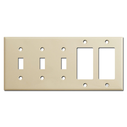Triple Toggle Double Rocker Wall Plate Covers - Ivory