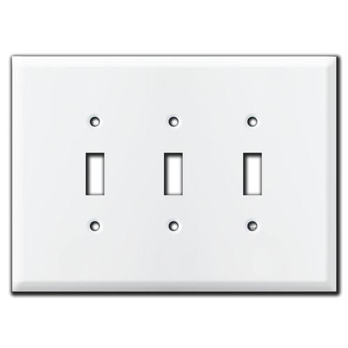 Jumbo 3 Toggle Switch Plate - White