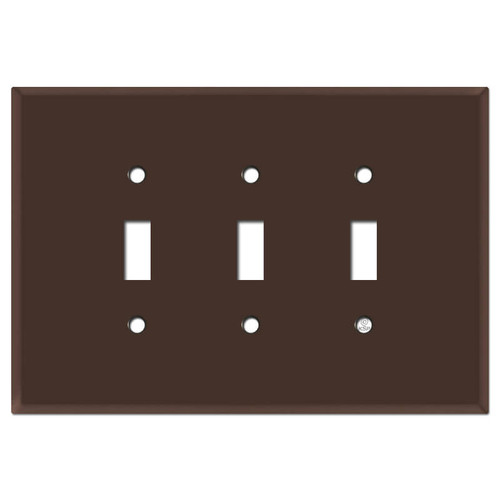 Oversized 3 Gang Toggle Switch Plates - Brown