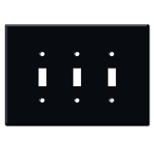 Jumbo 3 Gang Three Toggle Wall Plate Covers - Black