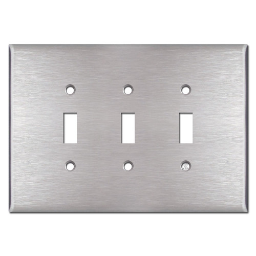 Oversized 3 Gang Toggle Switchplate - Spec Grade Stainless Steel
