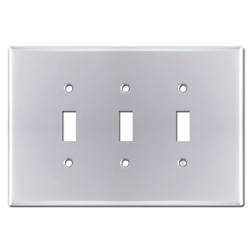 Jumbo Triple Toggle Switch Plate - Polished Chrome