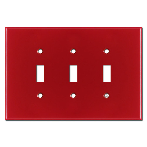 Oversized Triple Toggle Wall Plate Covers - Red