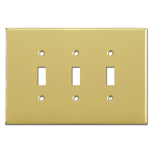 Jumbo Triple Toggle Faceplate Covers - Polished Brass