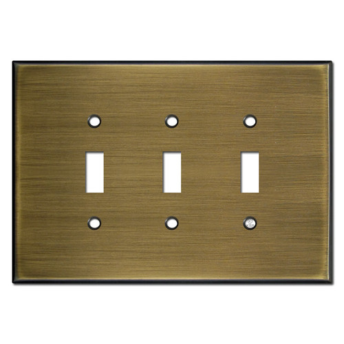Jumbo Triple Toggle Switch Plates - Antique Brass