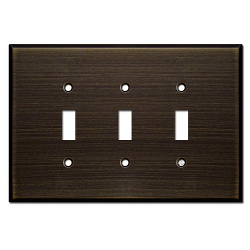 Oversized Triple Toggle Wall Switch Plates - Oil Rubbed Bronze