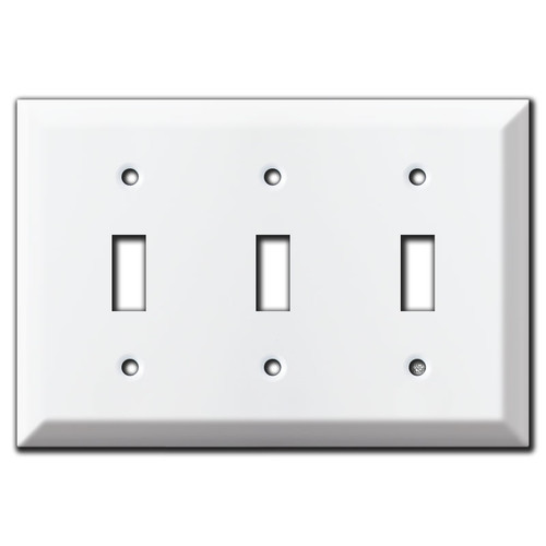 Raised 3 Toggle Light Switch Cover - White