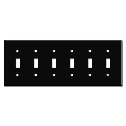 6 Gang Toggle Switch Plate - Black