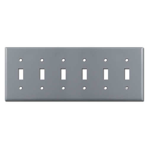 6 Toggle Light Switch Plates - Gray