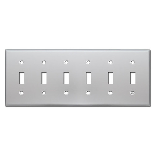 6 Toggle Wall Plate Covers - Brushed Aluminum