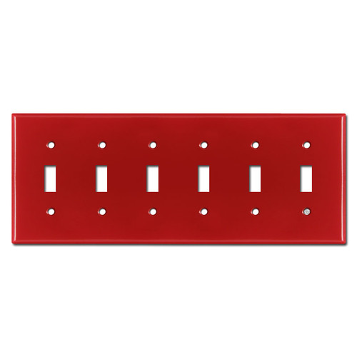 6 Toggle Faceplates - Red