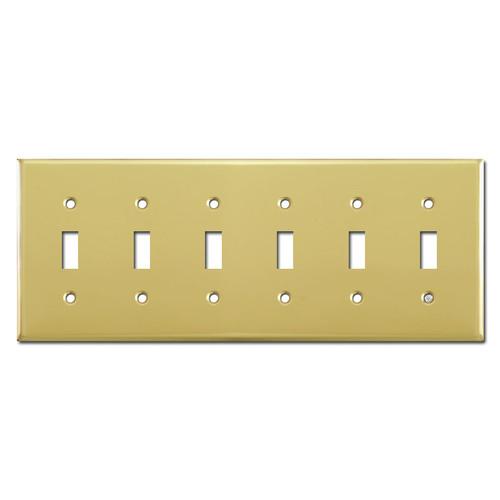 6 Toggle Wallplates - Polished Brass
