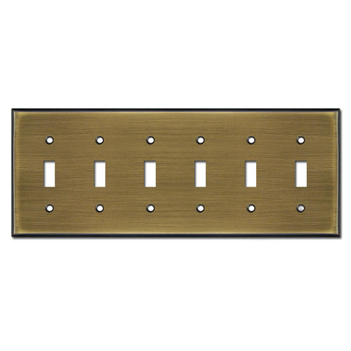 6 Toggle Switchplate Covers - Antique Brass