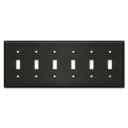 6 Gang Toggle Light Switch Plates - Dark Bronze