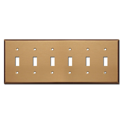 6 Gang Toggle Wall Plates - Satin Bronze