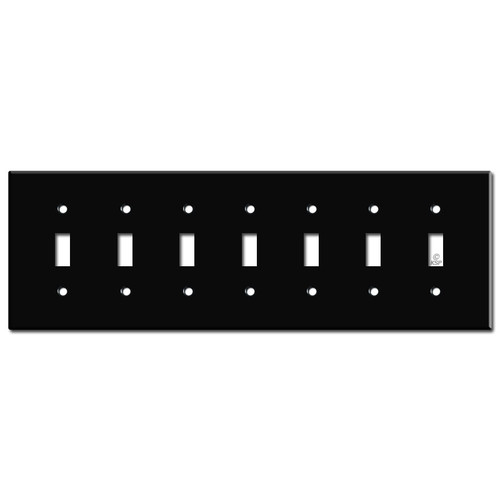7 Gang Toggle Wall Plates - Black